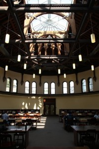 a photo of the Heritage Reading Room showing the first and second floor, as well as the open skylight.