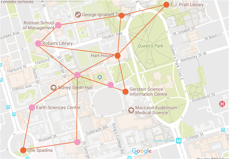 a map pin pointing several libraries on the U of T campus