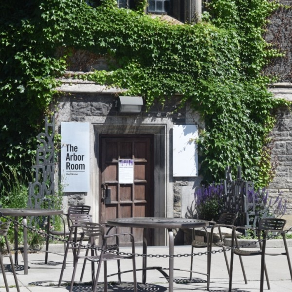 Outdoor seating outside of Hart House