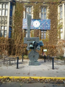 abstract sculpture outside hart house