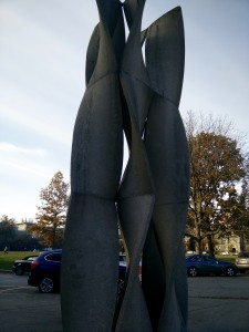 picture of concrete sculpture outside medical sciences building of DNA strands