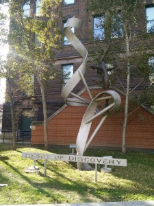 picture of Sprit of Discovery sculpture on south side of Medical Sciences building
