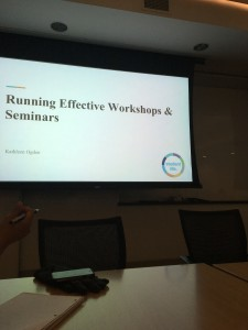 "Photo of slide that states ""Running Effective Workshops & Seminars"""