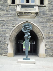 "picture of sculpture in the Hart House Quad called ""Complexes of a Young Lady"""