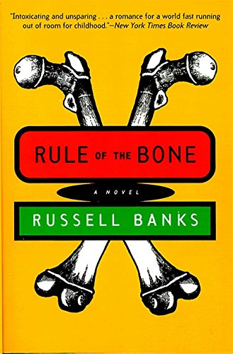 the book cover of Rule of The Bone, featuring a sketch of two bones crossed with each other