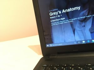 Photograph of computer screen with Greys Anatomy on it