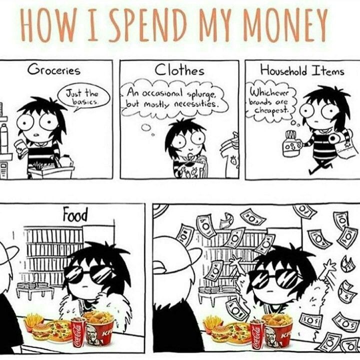 A cartoon panel in which the character is frugal throughout most aspects of life, but when it comes to fast food they shamelessly spend money