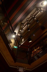 looking up from a corner of the Thomas Fisher Rare Book Library