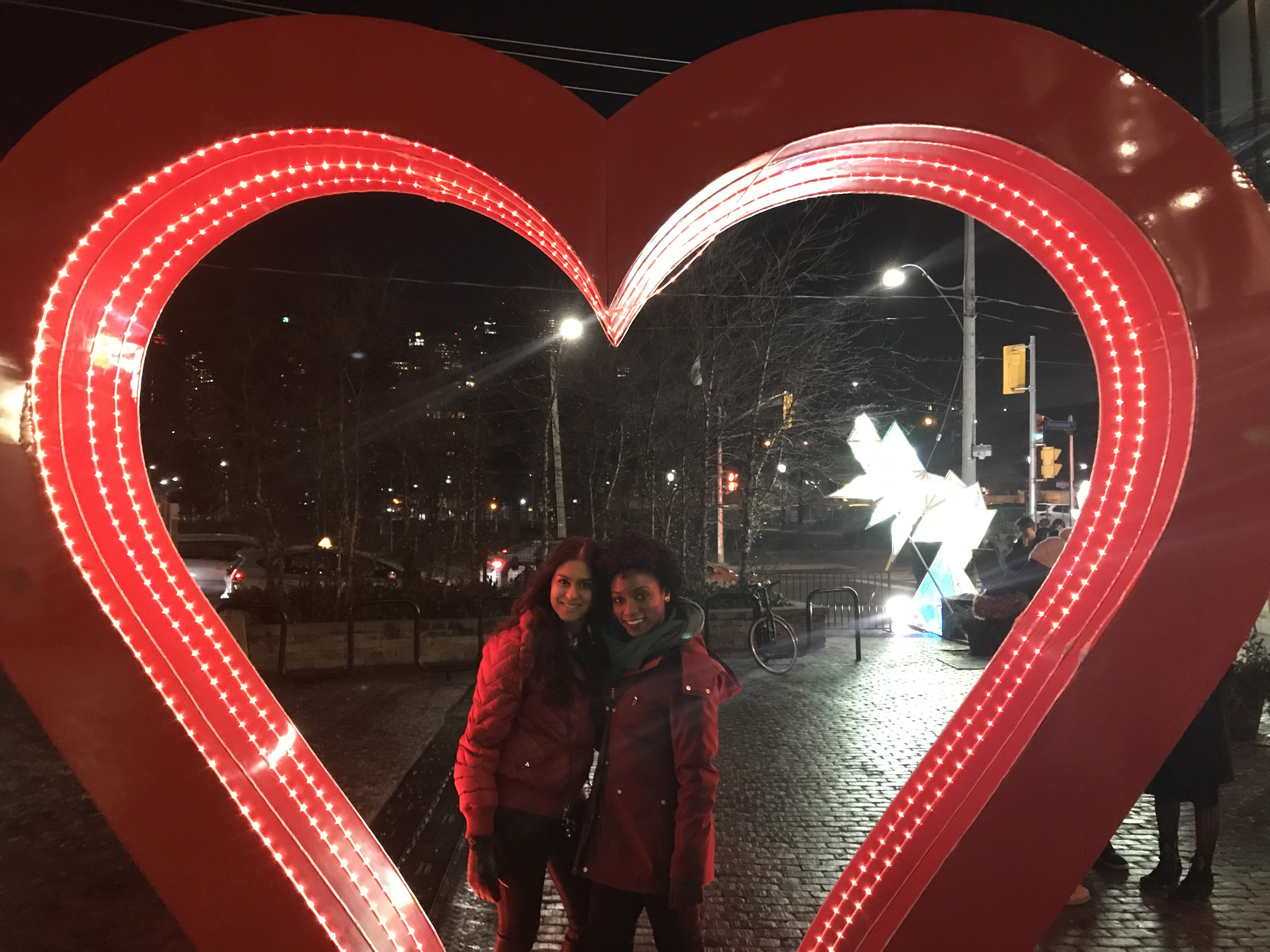A picture of my friend and I at Toronto Lights Festival