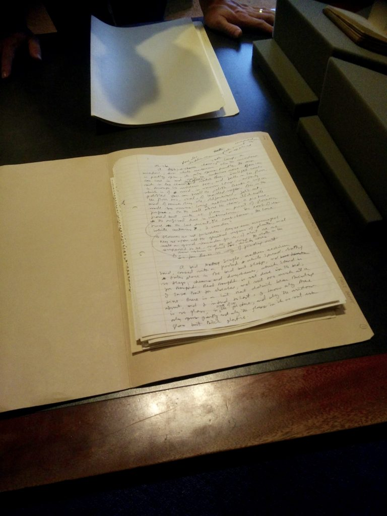 picture of papers of Margaret Atwood's first draft of the Handmaid's tale