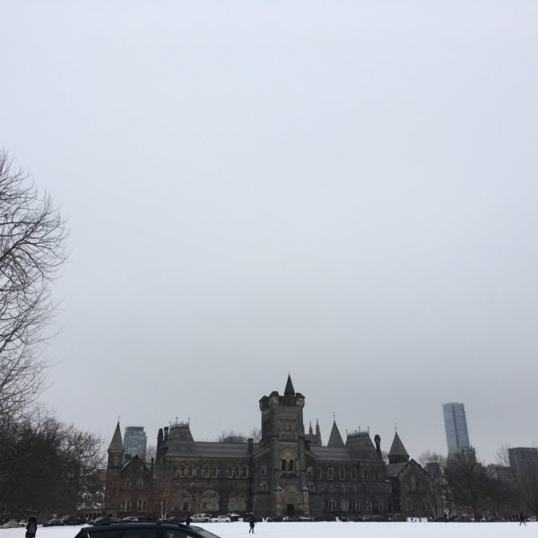 Photograph of University College with snow on the ground