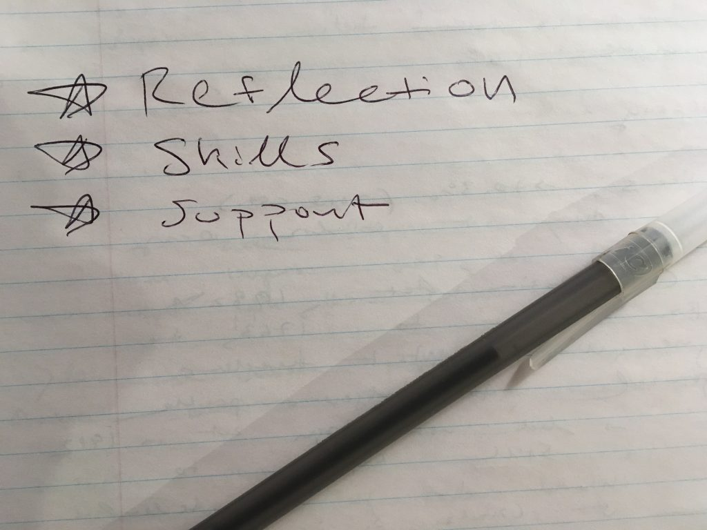 "Photo of lined paper with the words ""Reflection, Skills, Support"""