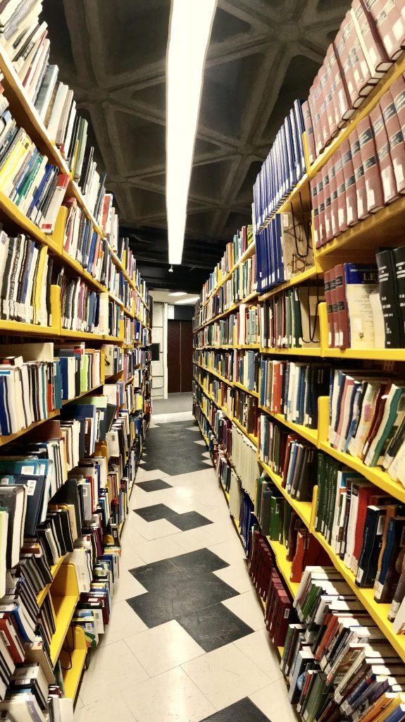 A photo of a bookshelf at Robarts.