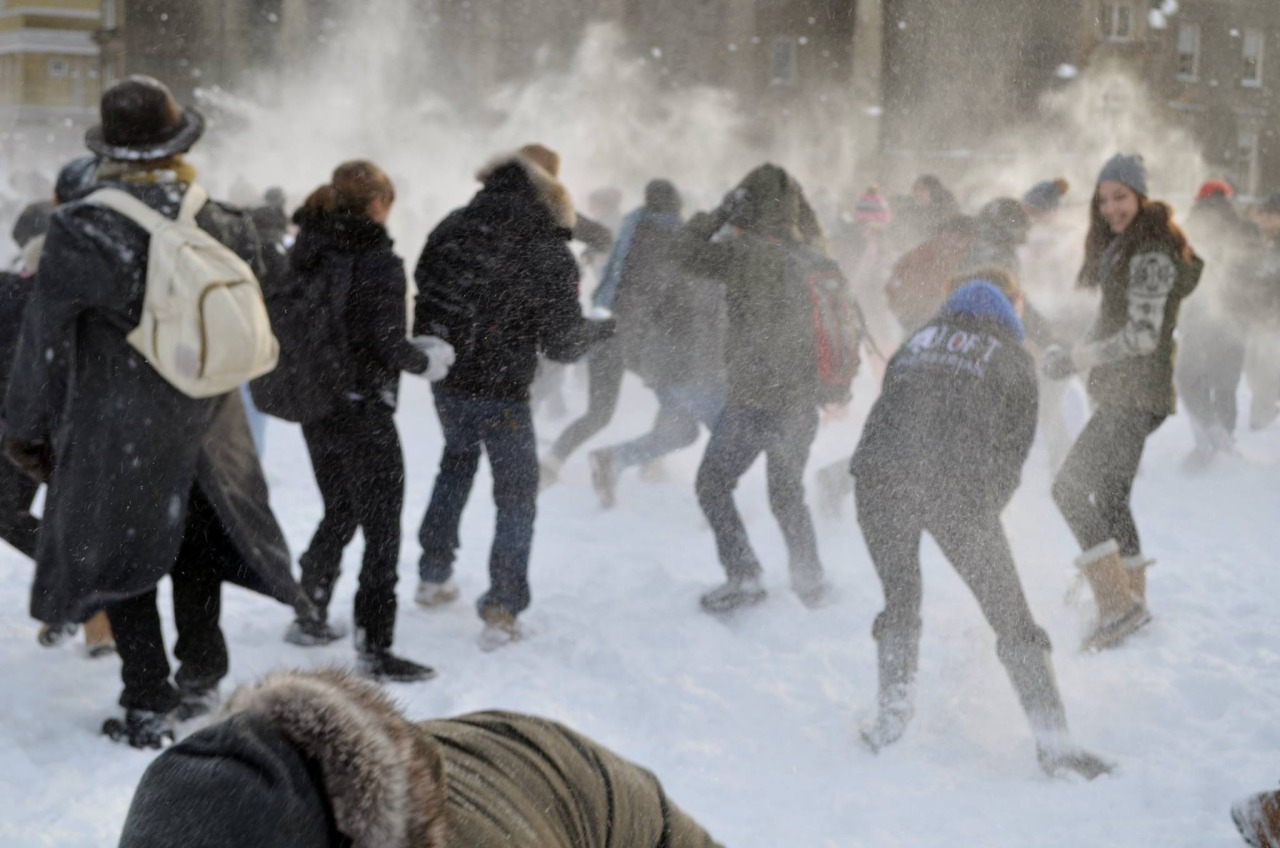 crowd of people throwing and dodging snowballs.