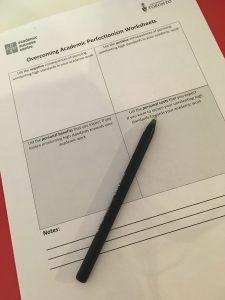 Photograph of Overcoming Academic Perfectionism Worksheet