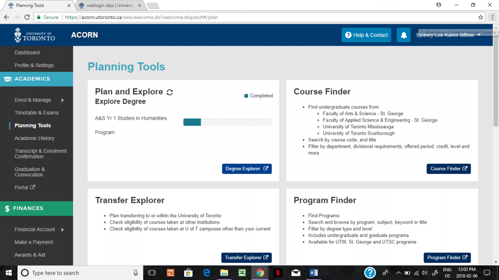 A screenshot of the degree planner page on university of toronto webpage