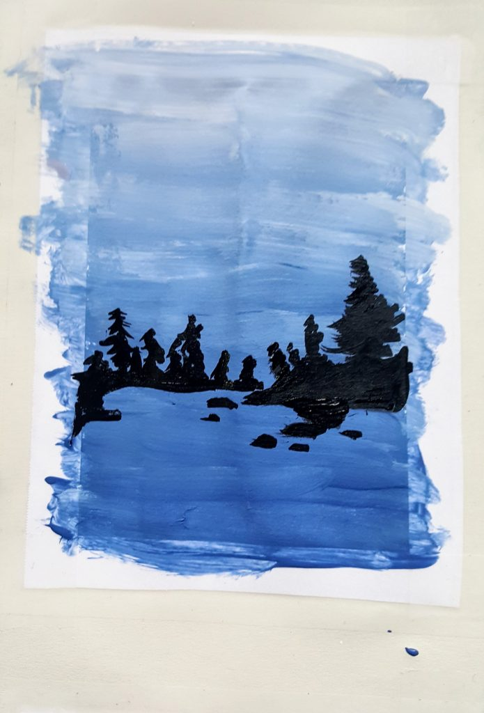 the completed fourth panel, appearing vaguely like a landscape painting of islands on a lake