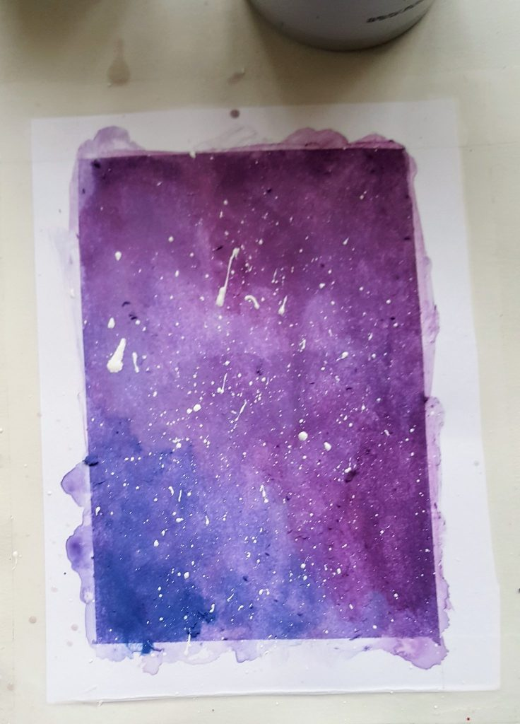 the third panel, painted entirely in similar purple shades and covered in small white dots overtop