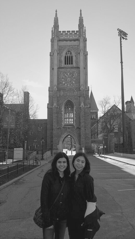 Emi and her friend in front of Soldier's tower.