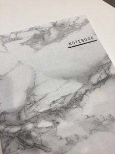 Photo of marble printed notebook