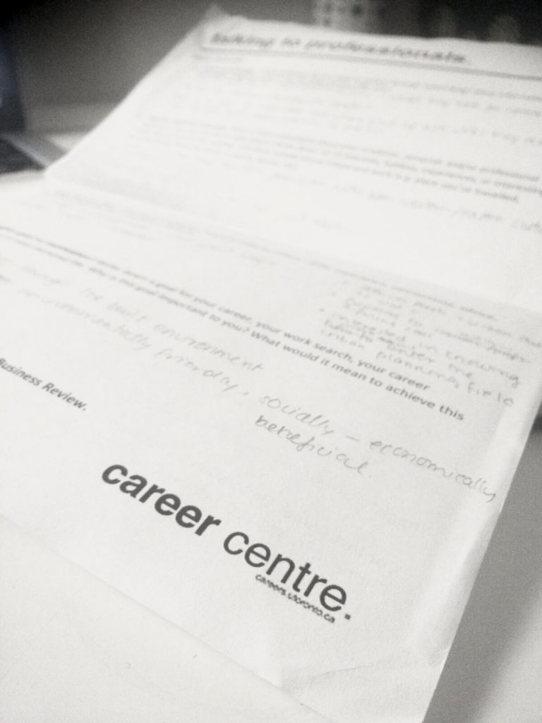 worksheet from the career centre workshop