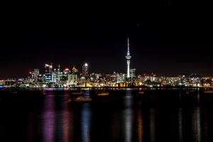 Nighttime photo of Auckland skyline