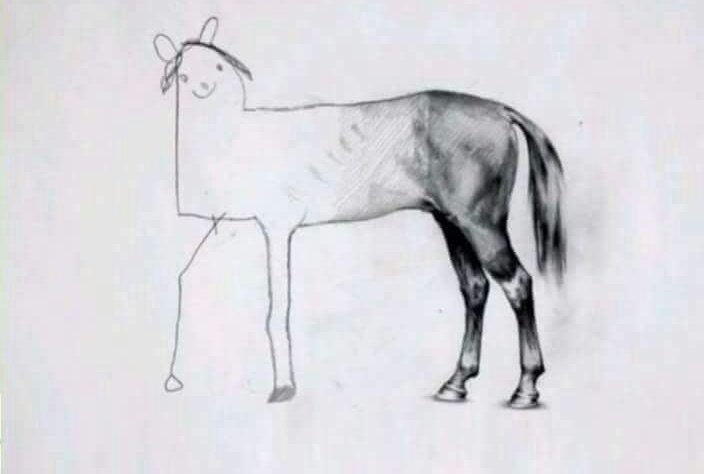 a drawing of a horse, one half appearing to be doodled by a child and the other half by a professional artist