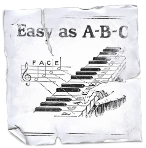 Photo of piano sheet music book with Easy As A B C as the title