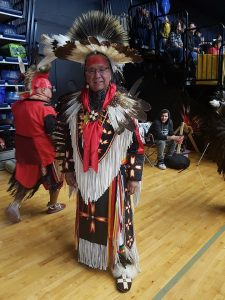 Photo of Amos Key Jr in Mohawk regalia