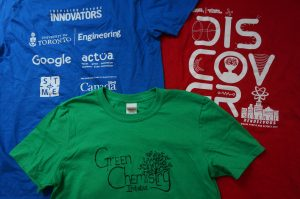 Blue, green and red STEM t-shirts