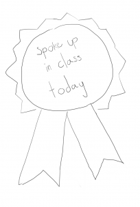 "drawing of a ribbon saying ""spoke up in class today"""