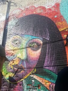 colourful mural of a woman