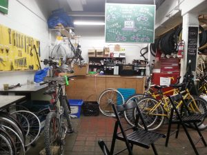workshop area with many bikes