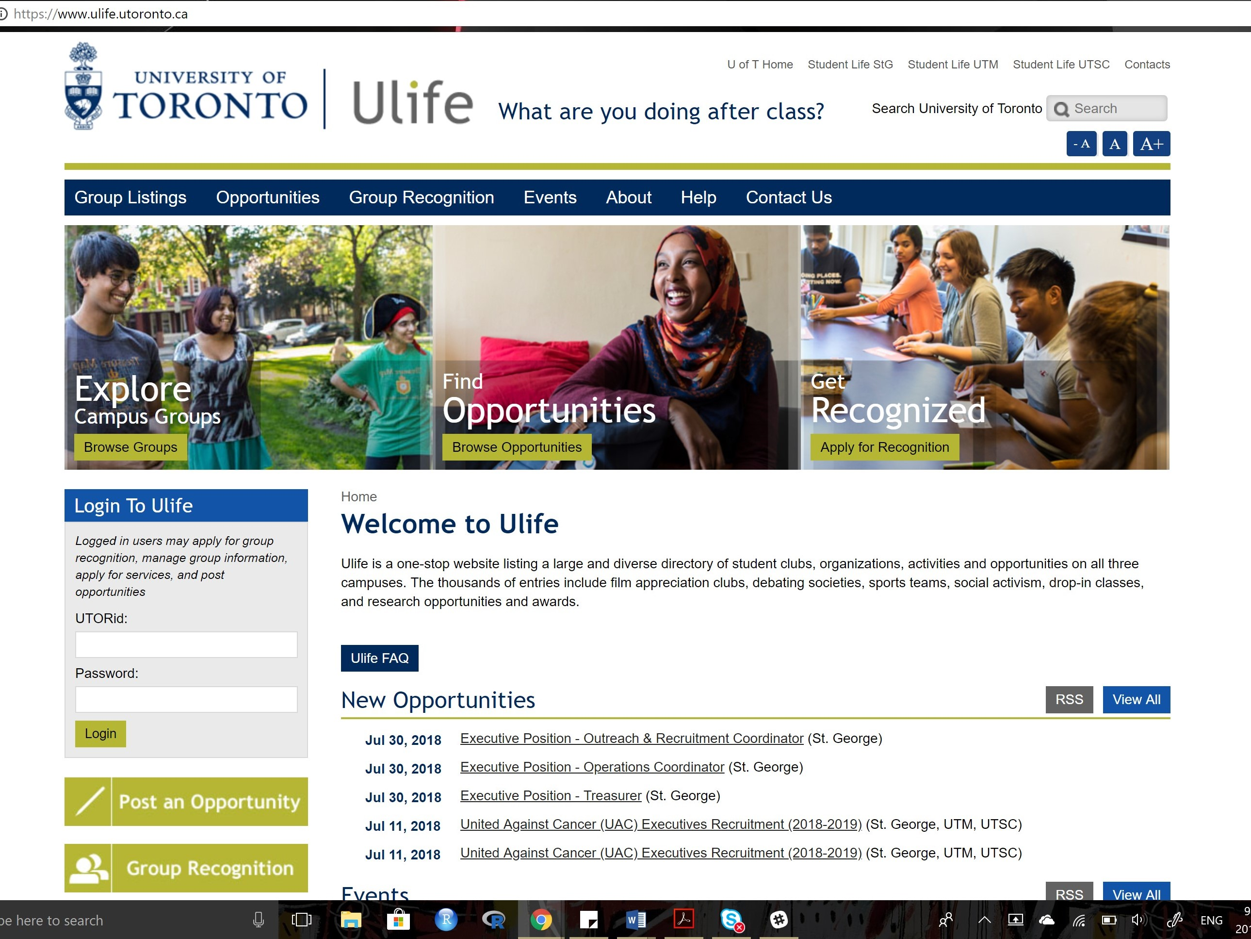 a screen-shot of the Ulife webpage