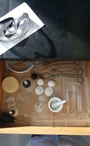 chemistry drawer full of equipment