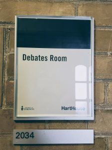 The sign in the Debate Room at Hart House