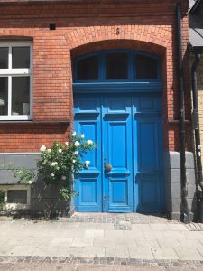 a blue door in lund