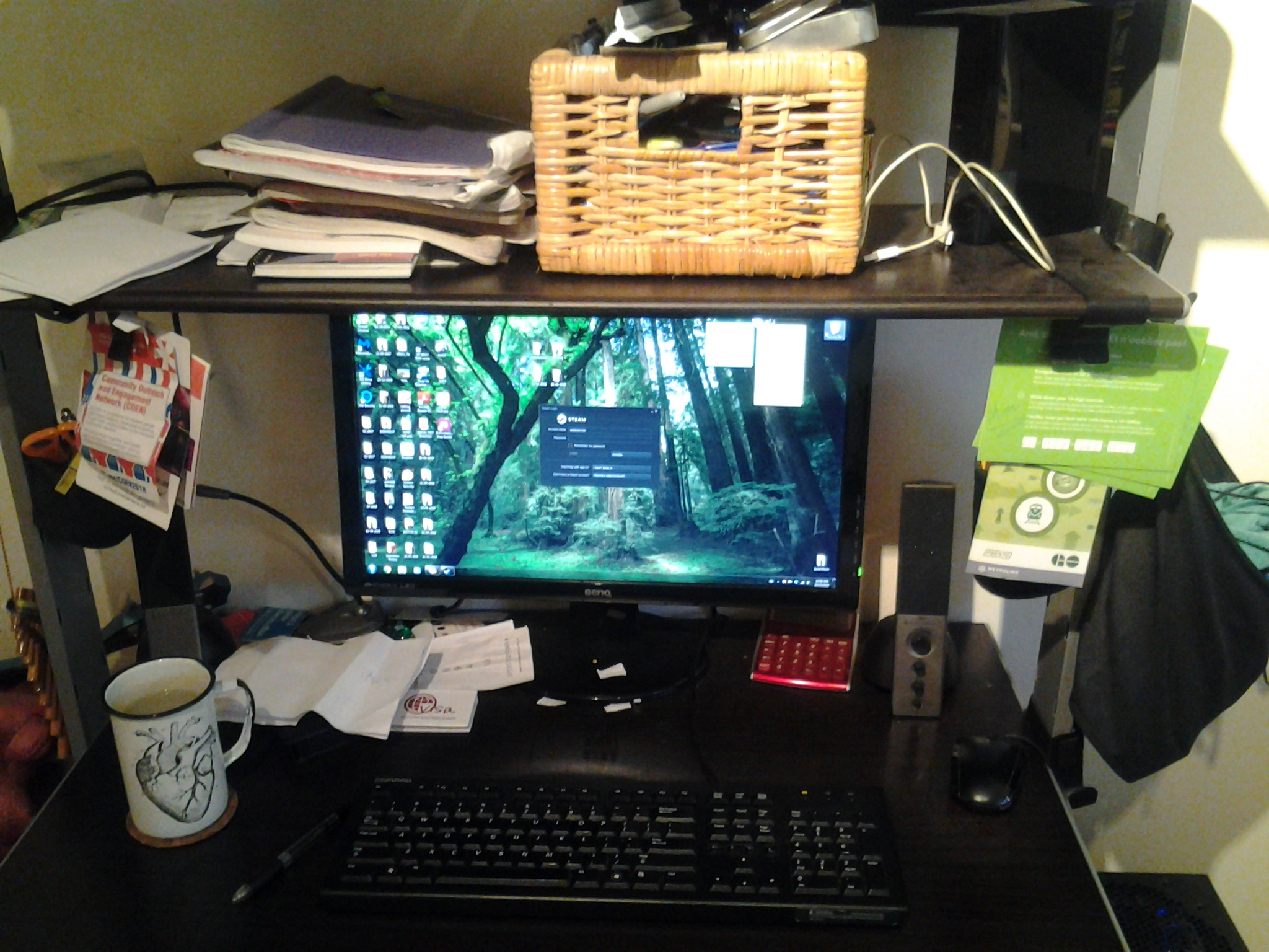 My desk before tidying it up a bit. Caption: BEFORE