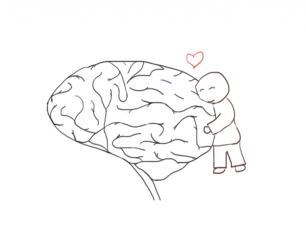 a sketch of a figure hugging a brain