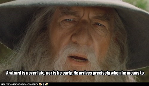 An image of Gandalf the Grey. Caption: Gandalf knows what he's talking about