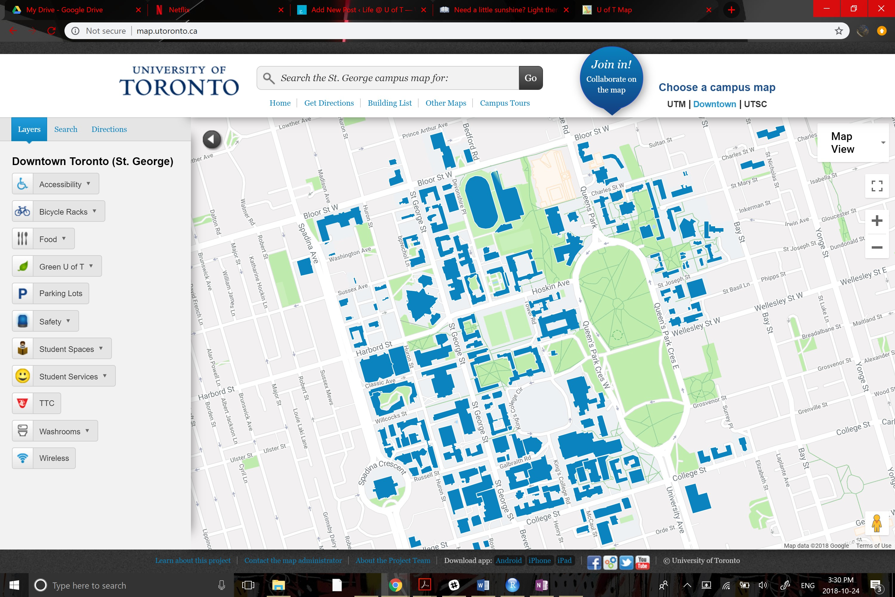 map of UofT