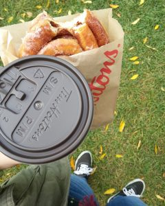 timmies cinnamon bun and tea