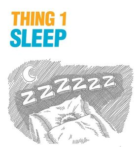"A sketch of a person asleep at night with the caption ""thing 1: sleep well"""