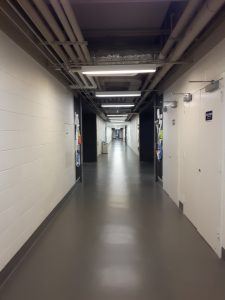 A photo of a long empty hallway in Ramsey Wright