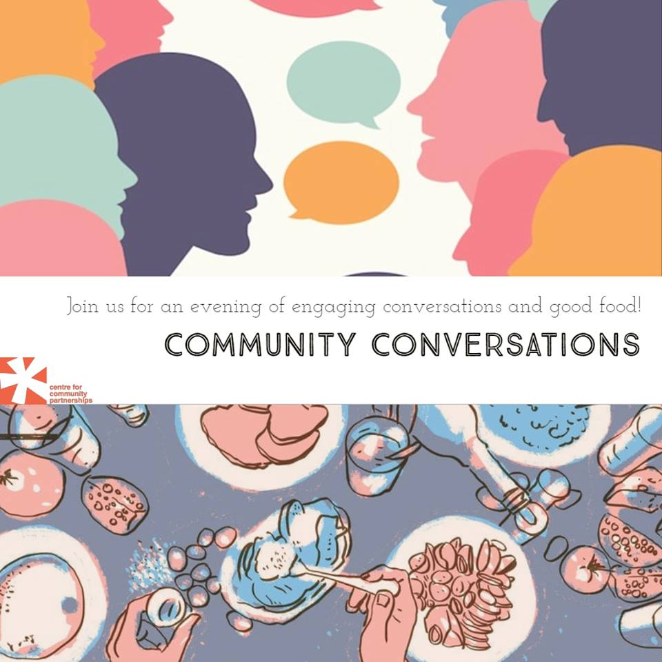 "Promotional poster for the event with colorful images and large words that say ""Community Conversations"""