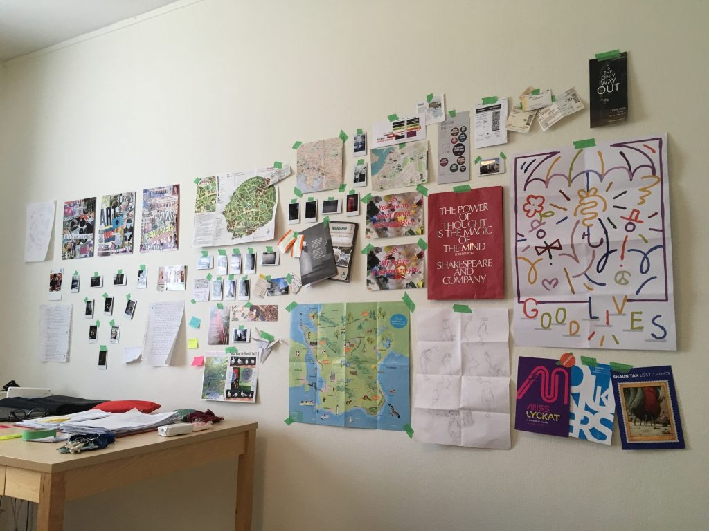 My wall of momentos during exchange in Sweden