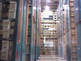 A picture of the many boxes at the City of Toronto Archives. Caption: Inside the City of Toronto Archives