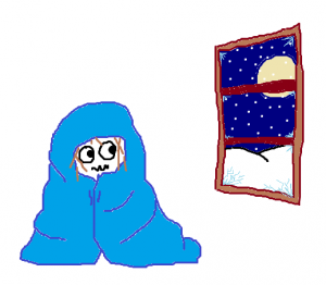 a drawing of a person wrapped in a blue blanket, looking out the window onto a snowy night.