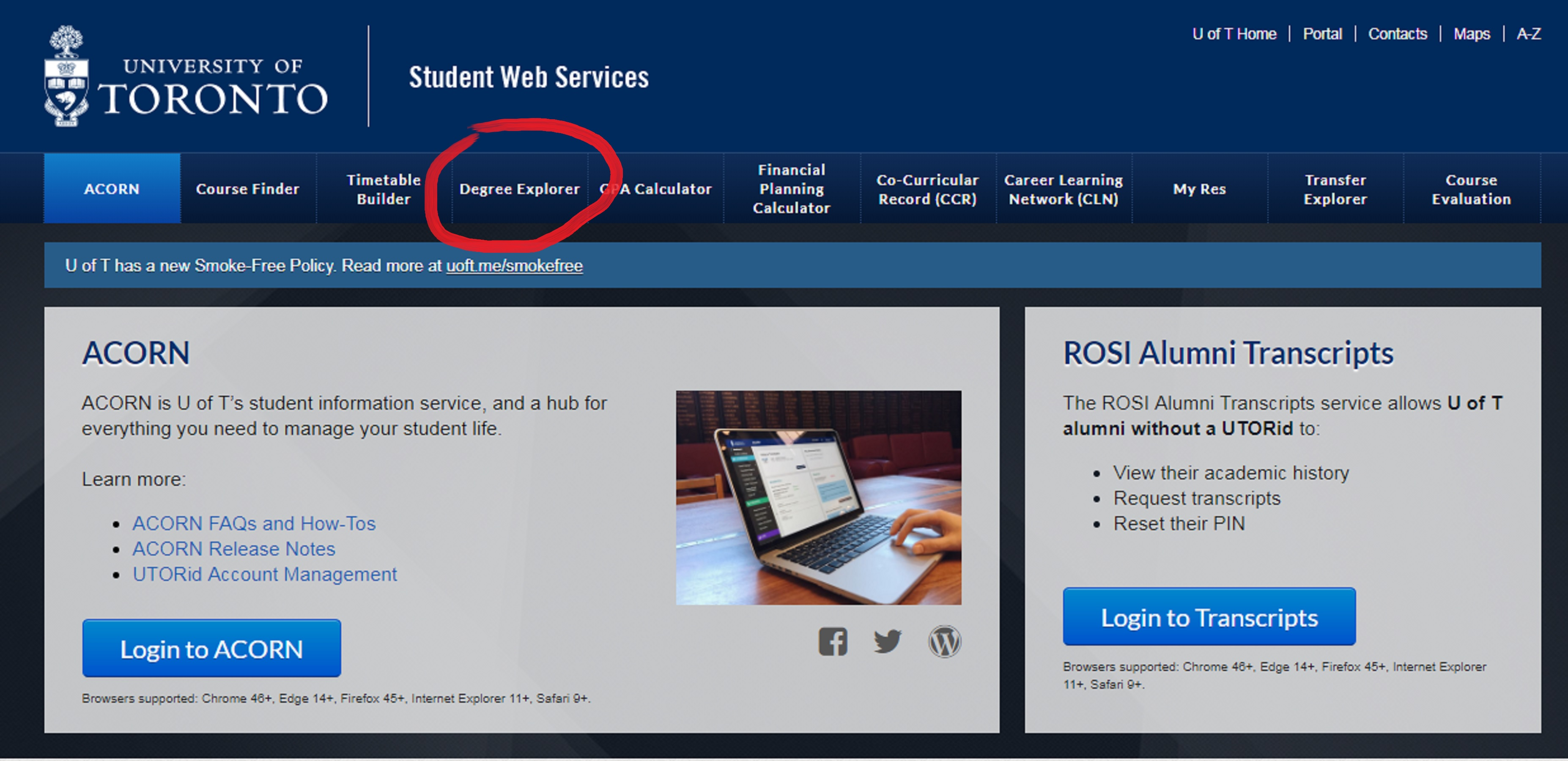 A screenshot showing how to access Degree Explorer from the Student Web Services portal. Caption: How to access Degree Explorer