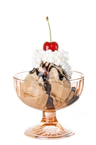 A stock photo of a sundae with a cherry on top. Caption: I need to stop writing these blog posts when I'm hungry